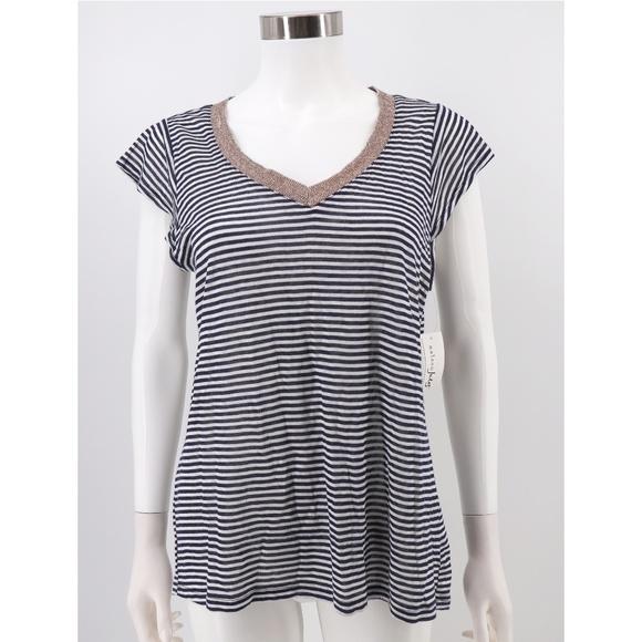 3709c812 Maison Jules Tops | Nwt Striped 100 Linen Vneck Top | Poshmark